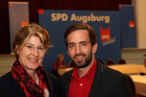 Ulrike Bahr und Christos Kislinger, OV-Vorsitzender von Augsburg-Oberhausen.