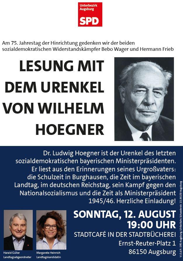 Hoegner-Lesung am So., 2018-08-12